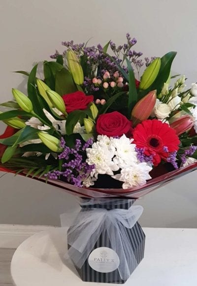 hand-tie bouquet roses lilies flowers tipperary